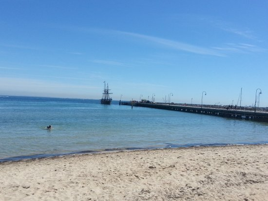 Portarlington Pier with the tall ship Enterprise.