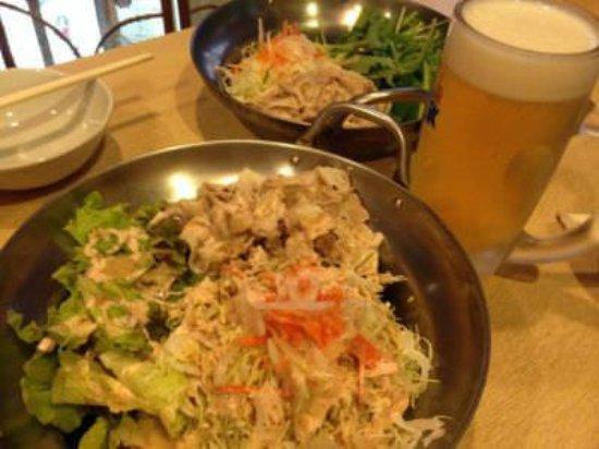 Tonsaiya Fukushimaten: 鍋盛りどっさり冷しゃぶ(1人前)¥1000