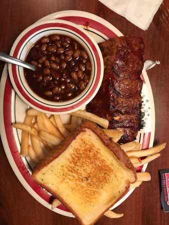 Rib City: Cooker, store info, menu, food (pork), outside