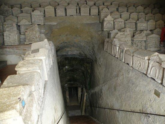 Ipogeo dei Volumni e Necropoli del Palazzone: LA DISCESA ALL'IPOGEO E LE URNE