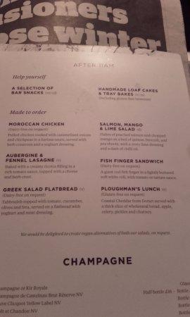 Horley, UK: Food to order menu