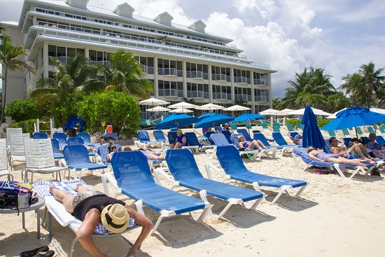 Comfort Suites Seven Mile Beach: Approx 36 beds on the beach in blus