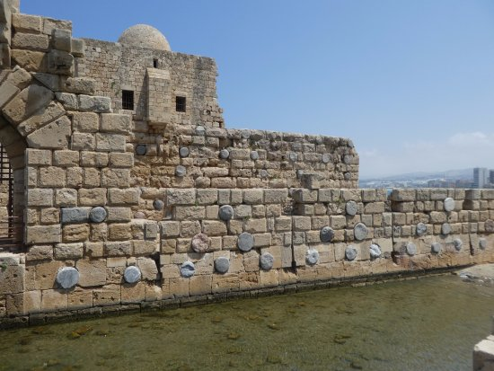 Sidon, Lebanon: the round grey things are roman columns built into the wall