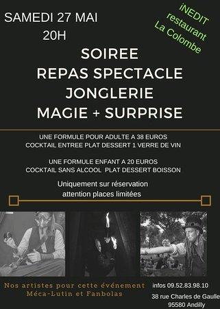 Andilly, France: Soirée repas, spectacle jonglerie et magie