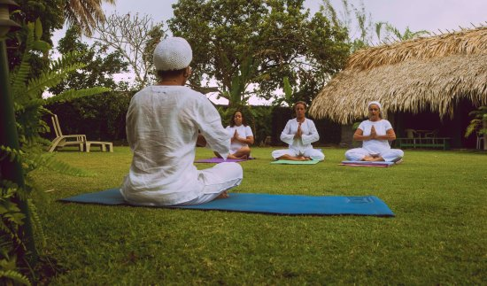 Bon Accord, Tobago: Thou Art Yoga class outdoors at Kariwak Hotel. (Photo: Robert Yeates)