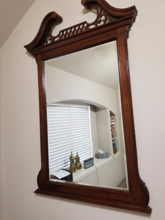 Burleson, TX: Chippendale style solid mahogany mirror
