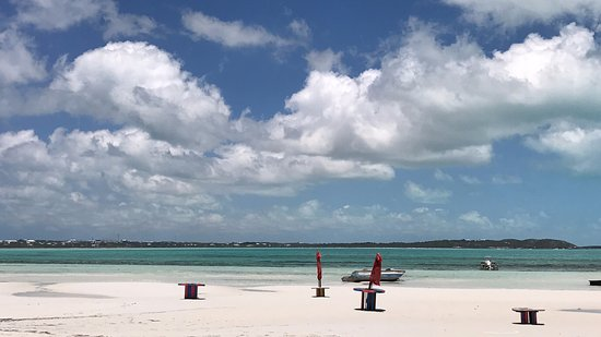 Five Cays Settlement, Providenciales: View from our table out to the beach...
