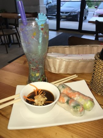 Fairborn, OH: Summer rolls packed with shrimp, veggies, herbs. See that beverage? Kids love it.
