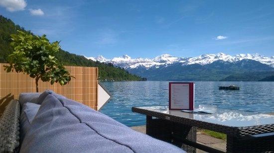 Oberhofen am Thunersee, Swiss: Lounge im Strandbad Oberhofen