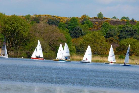 Frensham Pond's sailing facilities, near Farnham, Surrey
