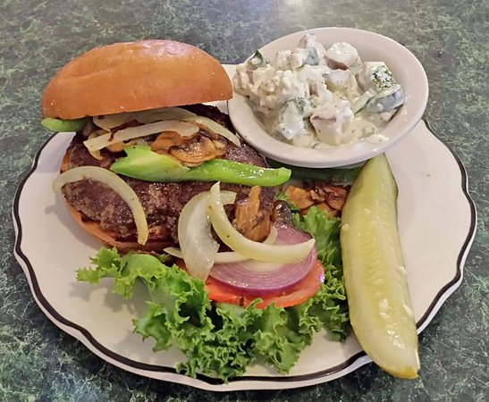 Palisade, CO: BYOB burger with onions and peppers