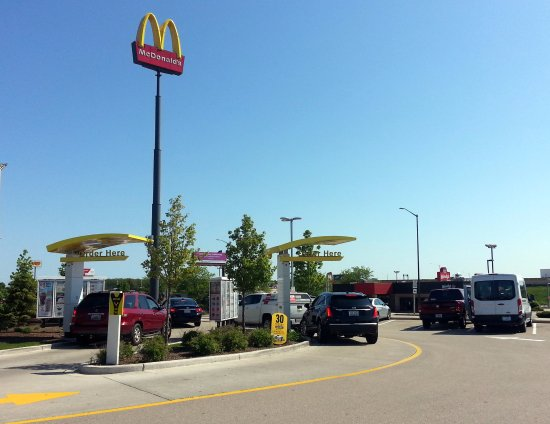 "Kenosha, WI: dual drive-thru lanes, notice that really high ""Golden Arches"""