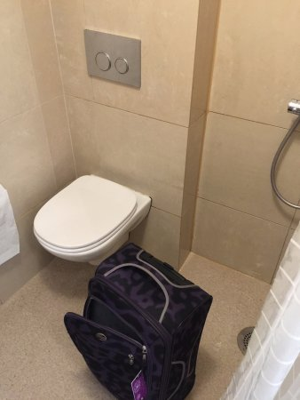Hotel Touche: Shower stall same level as toilet (carryon luggage)