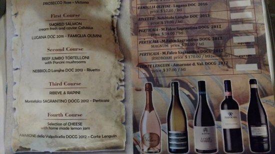Cafe Amici: Wine dinner menu