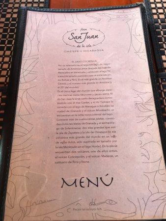 Altagracia, Nikaragua: menu