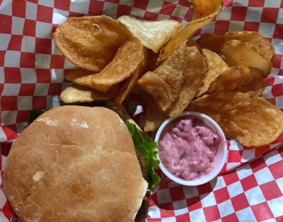 Uniontown, PA: Turkey burger with cranberry-mayo and home-made chips