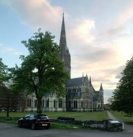 Salisbury Cathedral at dusk.