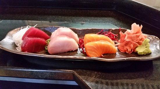 The Bento Box sushi: Tuna, Hamachi & salmon! The best!