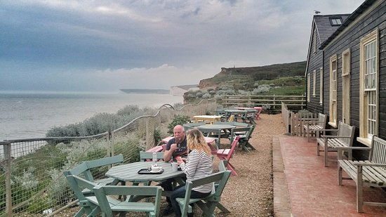 Birling Gap, UK: Outside seating area on cliff tops