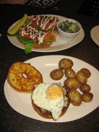 Cora's Creekside Tavern : Donut Burger with Herbed Potatoes and Salmon BLT (background)