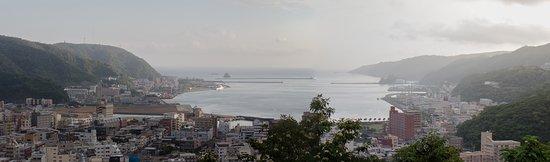 Amami, Japan: 三枚の写真の合成パノラマです。展望広場から市街を望む。