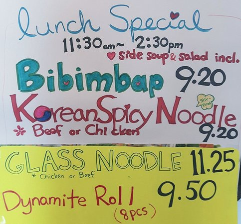 Richmond Hill, Canada: New Lunch Specials Bibimbap, Korean Spicy Noodle, Glass Noodles & Dynamite Roll! with soup & sal
