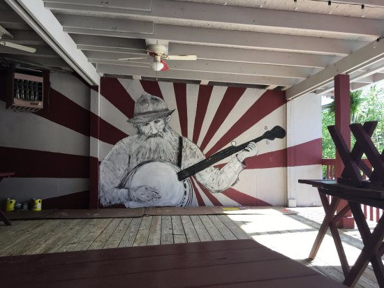 Cashiers, NC: Mural of Popcorn Sutton on our patio