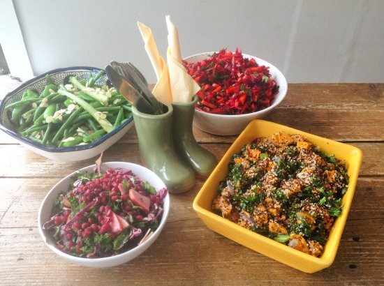 Ditchling, UK: Healthy, colourful salads of the day ...