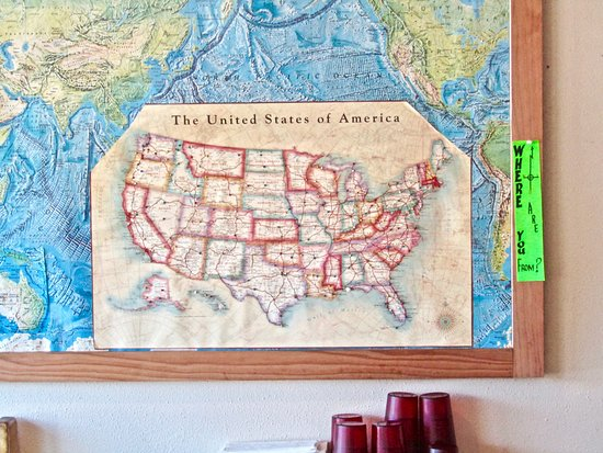 Cute idea - Picture of Blons Restaurant, Shelton ... Map F The United States on map of 50 states with names, map of south america, google america united states,