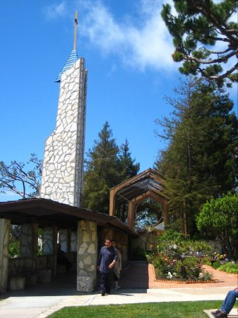 Rancho Palos Verdes, CA: The Wayfarer's Chapel, also known as the Glass Church, on a hill overlooking the Pacific Ocea.