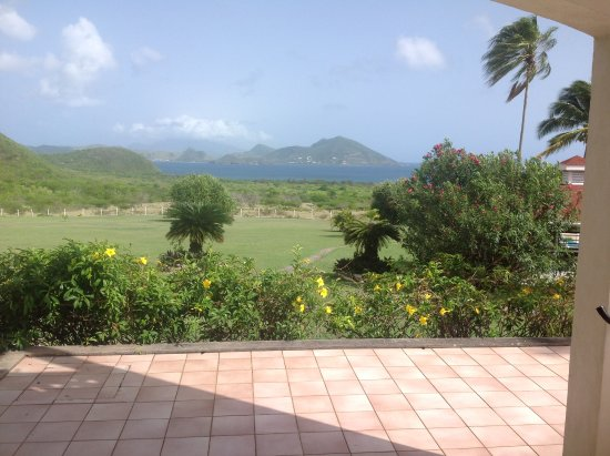 New Castle, Nevis: Sitting on the patio looking across to St Kitts.
