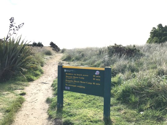 Moeraki, New Zealand: Sign showing about 10 min walk to boulders