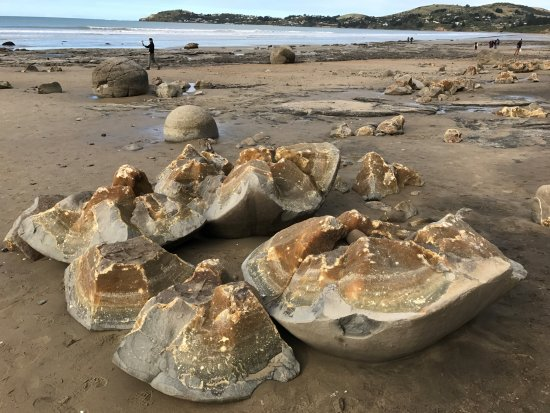 Moeraki, New Zealand: A broken boulder showing the inside core with yellowish layers