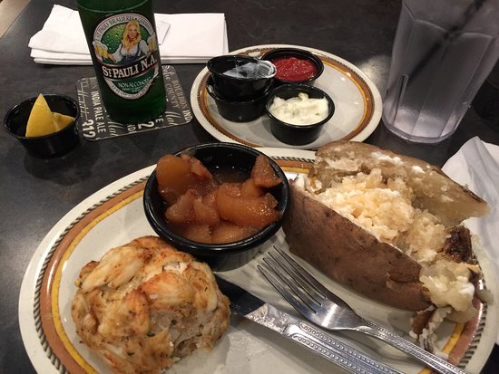 Columbia, MD: Crab cake is a 1/2lb & equal any in the area. Delicious! The cinnamon apples were just right - n