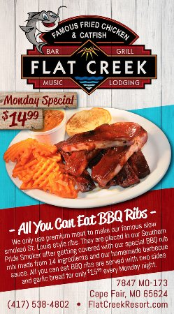 Cape Fair, MO: Monday Special AYCE Ribs for $14.99 from 11AM - 10PM