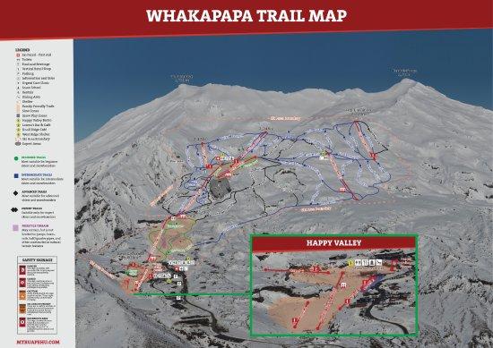 Whakapapa Ski Area - Mt Ruapehu: Whakapapa Trail Map 2017