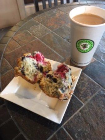 Amazing homemade muffin with blueberries & Nelson raspberries