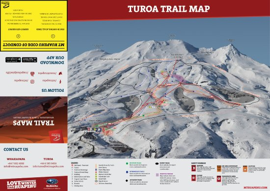 Tongariro National Park, Nueva Zelanda: Turoa Ski Area Trail Map 2017