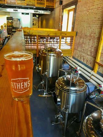 Athen, TX: Brewery interior with fermenter views