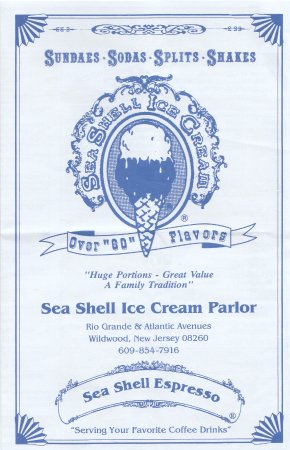 Sea Shell Ice Cream: cover of the menu, May 2017
