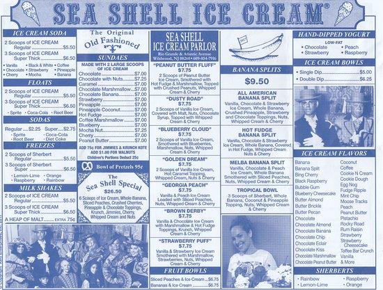 Sea Shell Ice Cream: menu, May 2017