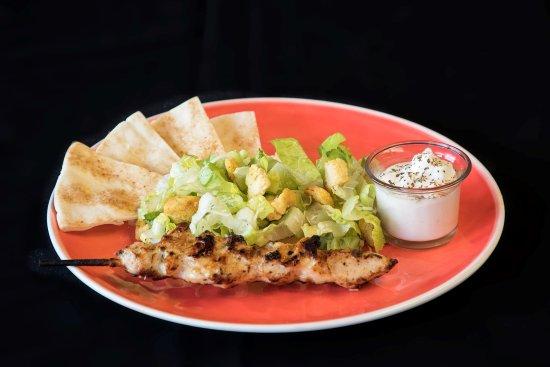 Fernie, Canada: Fire roasted chicken Souvlaki dinner with greek or caesar salad. $10