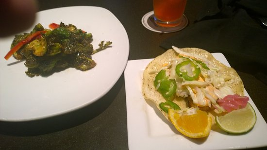 Uncasville, CT: Brussel Sprouts and pork taco - USE lime AND orange squeeze!