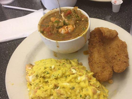 Douglasville, GA: The Ultimate: Shrimp & Grits; Fried Catfish; Sassy Scramble