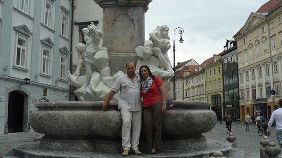 Triple Bridge (Tromostovje): The Robba fountain Ljubljana Slovenia