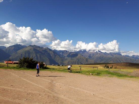 Maras, Peru: mountains in the backdrop