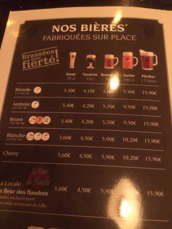 Carta De Cervejas Picture Of Les 3 Brasseurs Lille