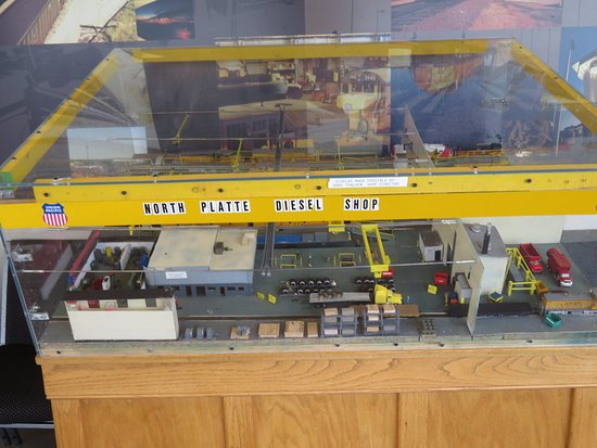 Golden Spike Tower and Visitor Center: Model of the diesel shop in Bailey Yard