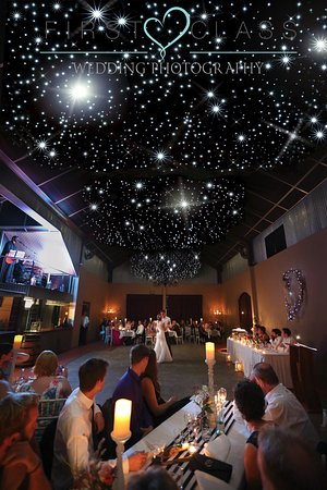 Wedding at Flaxton Gardens in the Winery Hall with its starlit ceiling.
