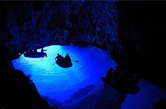 Blue Cave and the Island of Hvar in a...